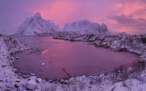 Arctic Morning. Olstinden mountain peak and fishing village of Reine at sunrise. Moskenes, Lofoten archipelago, Norway. LF-MRD1E0840-46 - Lofoten Archipelago in Winter, Arctic Norway - Mike Reyfman Photography