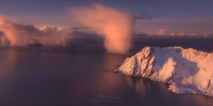 Dancing Clouds phenomena. Aerial view of Lofoten archipelago at sunrise. Moskenes, Lofoten archipelago, Norway. LF-MRD1E1543_Pano-2x1 - Lofoten Archipelago in Winter, Arctic Norway - Mike Reyfman Photography