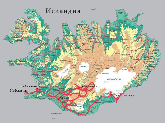 Где находится вулкан гекла карта